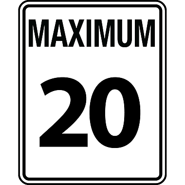 Traffic Regulatory Signs, Maximum 20