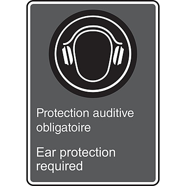 Canadian Standards Association Identification Safety Signs, Ear Protection Required w/Pictogram, SAU899