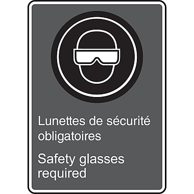 Canadian Standards Association Identification Safety Signs, Safety Glasses Required w/Pictogram, SAU929