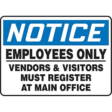 Safety Signs and Identification, Admittance & Exit , Attention; Employees only vendors & visitors must register, SAS684