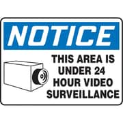 "Sign 10""X14"" This Area Is Under 24 Hour Video Surveillance, Aluminum, (SAS733)"