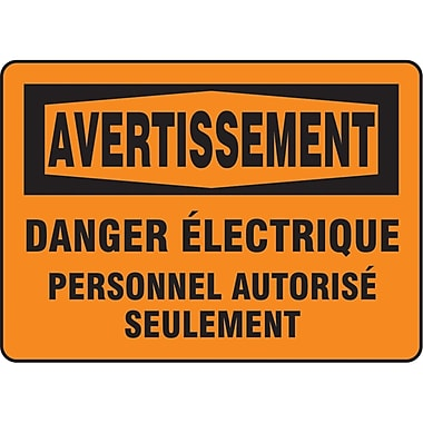 Safety Signs and Identification, Electrical, Avertissement; Danger electrique Personnel Autorise Seulement, SO229