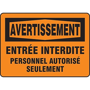 Safety Signs and Identification, Admittance & Exit, Avertissement; Entree Interdite Personnel Autorise Seulement, SO223