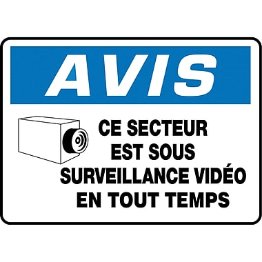 Safety Signs and Identification, Chemicals & Haz-Mat, Avis; Se Secteur est Sous Surveillance Video En Tout Temps, SEF982