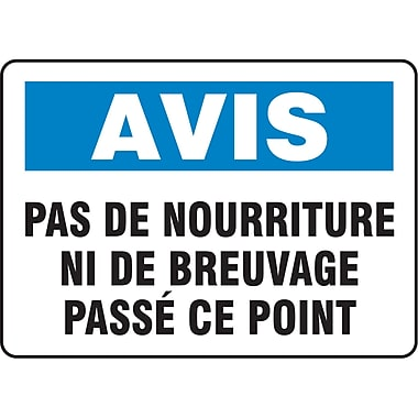 Safety Signs and Identification, Housekeeping & Hygiene, Avis; Pas de Nourriture ni de Breuvage Passe ce Point, SP728
