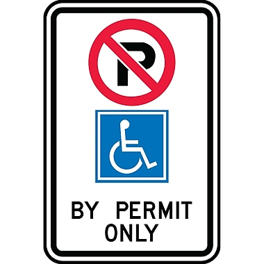 Parking Signs, By Permit Only w/No Parking and Wheelchair, SAX523