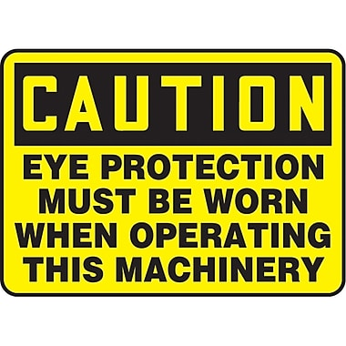 Safety Signs and Identification, Personal Protection, Caution; Eye Protection Must Be Worn When Operating This Machinery SAU459