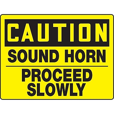 Safety Signs and Identification, Traffic Industrial, Caution; Sound Horn Proceed Slowly, SAT114