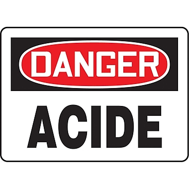 Safety Signs and Identification, Chemicals & Haz-Mat, Danger; Acide, SO391