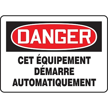 Safety Signs and Identification, Equipment, Danger; Cet equipment Demarre Automatiquement, SP259