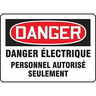 Safety Signs and Identification, Electrical, Danger; Danger electrique Personnel Autorise Seulement, SO116