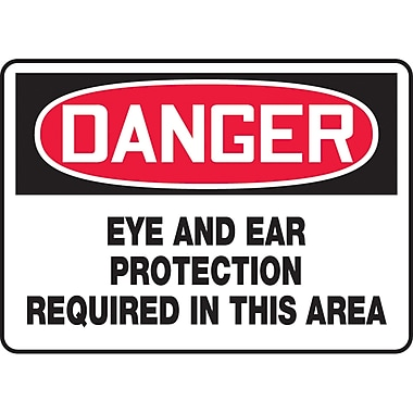 Safety Signs and Identification, Personal Protection, Danger; Eye and Ear Protection Required in this Area, SAU372