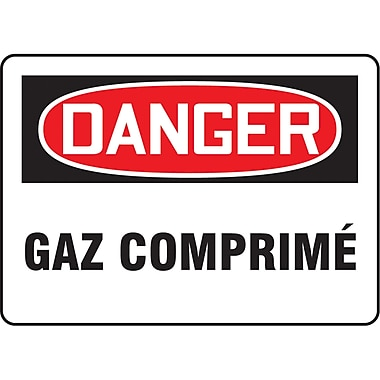 Safety Signs and Identification, Chemicals & Haz-Mat, Danger; Gaz Comprime, SO490