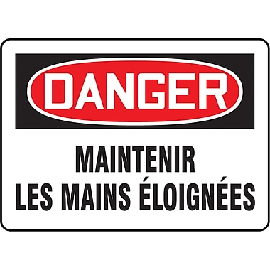 Safety Signs and Identification, Equipment, Danger; Maintenir Les Mains elongnees, SP596