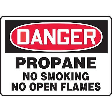 Safety Signs and Identification, Chemicals & Haz-Mat, Danger; Propane No smoking No open flames, SAT376