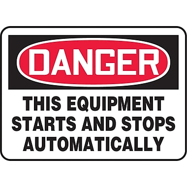 Safety Signs and Identification, Equipment, Danger; This equipment starts and stops automatically, SAU023