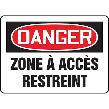 Safety Signs and Identification, Admittance & Exit, Danger; Zone a Acces Restreint, SO187
