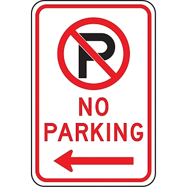 Parking Signs, No Parking w/Pictogram and Left Arrow, SAX518
