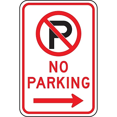 Parking Signs, No Parking w/Pictogram and Right Arrow, SAX517
