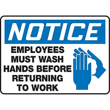 Safety Signs and Identification, Housekeeping, Notice; Employees Must Wash Hands Before Returning To Work w/Pictogram, SAU267