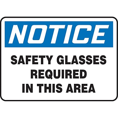 Safety Signs and Identification, Personal Protection, Notice; Safety Glasses Required In This Area, SM353