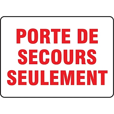 Safety Signs and Identification, Fire & Emergency, Porte De Secours Seulement, SP694