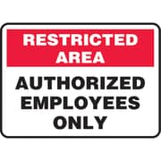 "Accuform ""Restricted Area: Authorized Employees Only"" Sign, 10"" x 14"", Adhesive Vinyl (SJ853)"