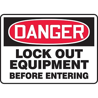 Safety Signs and Identification, Electrical, Danger; Lock out equipment before entering , SAT916