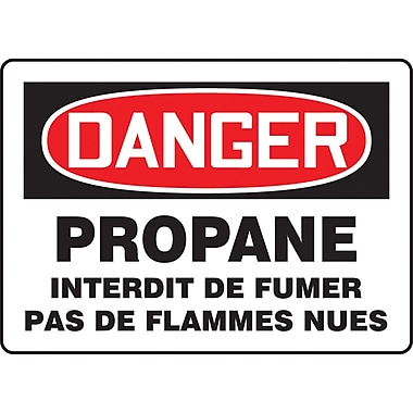 Safety Signs and Identification, Chemicals & Haz-Mat, Danger; Propane Interdit De Fumer Pas de Flammes Nues, SEB929