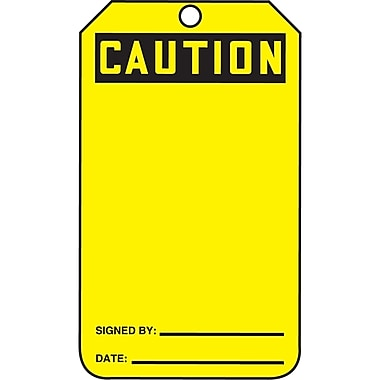 Blank Header Safety Tags, Caution, SAU658, 25/Pack