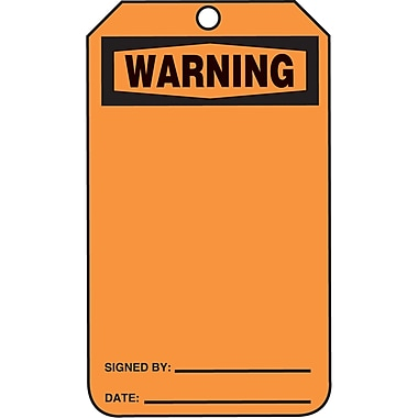 Blank Header Safety Tags, Warning, SAU655, 25/Pack