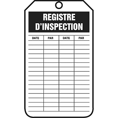 Equipment Status and Inspection Safety Tags, Registre d'inscription, SED659, 25/Pack