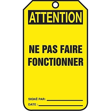 Standard Safety Tags, Attention, ne pas faire fonctionner, SAU866, 25/Pack