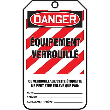 Lockout Safety Tags, Danger; equipement verrouille, SAU870, 25/Pack