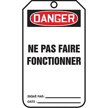 Standard Safety Tags, Danger; ne pas faire fonctionner, SAU858, 25/Pack