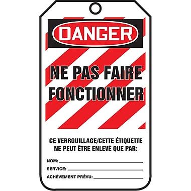 Lockout Safety Tags, Danger; ne pas faire fonctionner, SAU879, 25/Pack