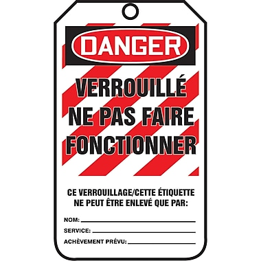 Lockout Safety Tags, Danger; verrouille ne pas faire fonctionner, SAU882, 25/Pack