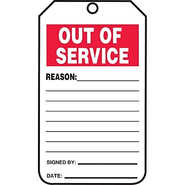 Equipment Status and Inspection Safety Tags, Out of service, SAU742, 25/Pack