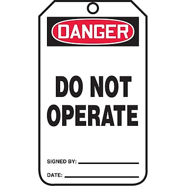 Standard Safety Tags, Danger; Do not operate, SAU611, 25/Pack