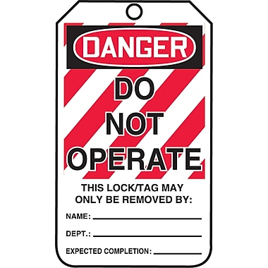 Lockout Safety Tags, Danger; Do not operate, SAU778, 25/Pack