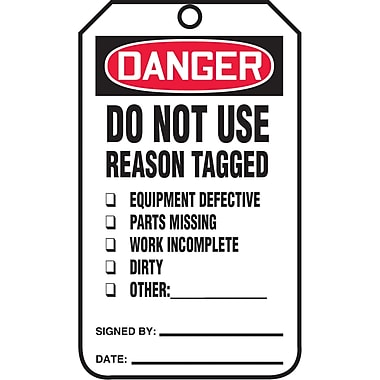 Standard Safety Tags, Danger; Do not use reason tagged, SAU618, 25/Pack