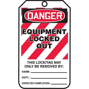 Lockout Safety Tags, Danger; Equipment locked out, SAU802, 25/Pack