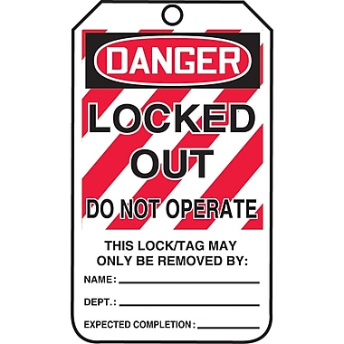 Lockout Safety Tags, Danger; Locked out do not operate, SAU807, 25/Pack