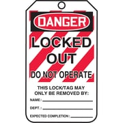 Lockout Safety Tags, Danger; Locked out do not operate, SAU806, 25/Pack