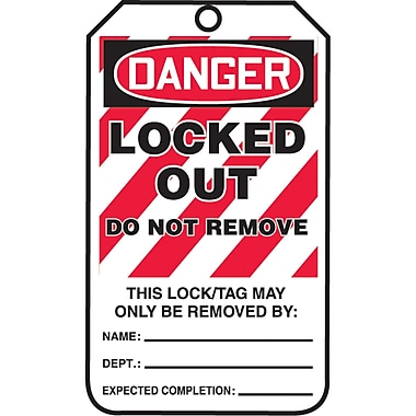 Lockout Safety Tags, Danger; Locked out do not remove, SAU811, 25/Pack