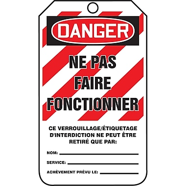 Tags By-The-Roll, Danger; Ne pas faire fonctionner (w/Stripes), SAS453, 250/Pack