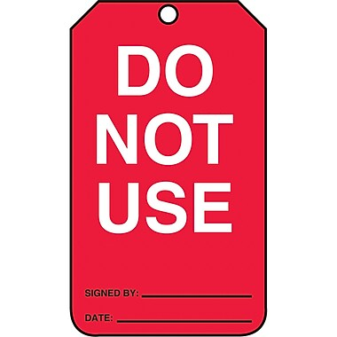 Equipment Status and Inspection Safety Tags, Do not use, SAU734, 25/Pack