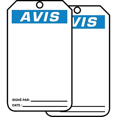 Blank Header Safety Tags, Avis, SED653, 25/Pack