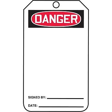 Blank Header Safety Tags, Danger, SAU6-50, 25/Pack