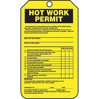 Standard Safety Tags, Hot Work Permit, SBB284, 25/Pack